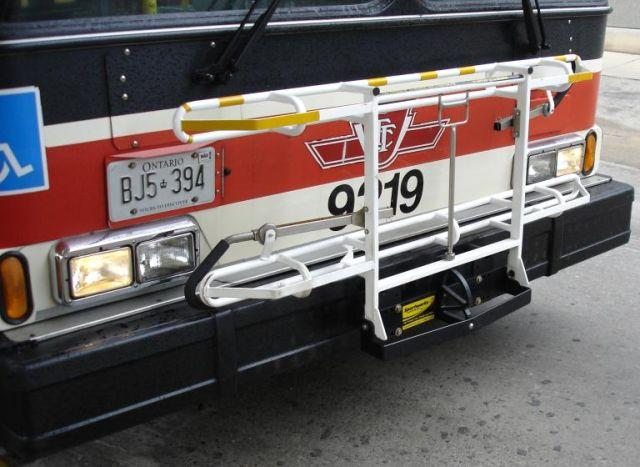 Bike rack on a TTC bus