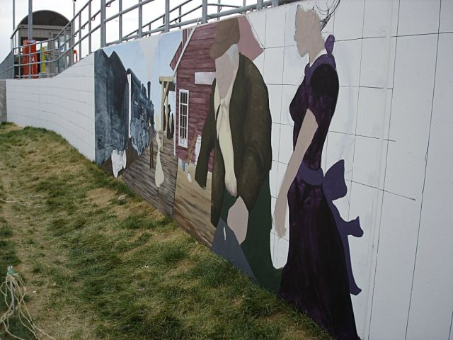 Mural, in progress, Kennedy Station