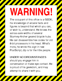 geek warning sign