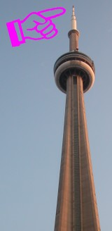 Pointing to the CN Tower whilst exclaiming 'Pointy!'.