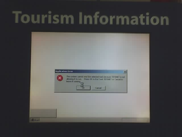 crashed tourist kiosk