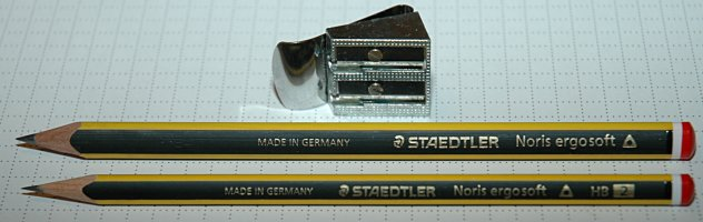 Staedtler Noris Ergosoft, Ergosoft Learner's Pencil, and Lee Valley Belt Sharpener