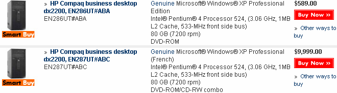 $589 for an english machine, $9999 for a french machine