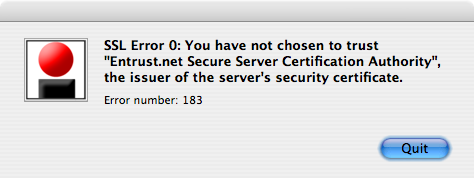 SSL Error 0: You have not chosen to trust 