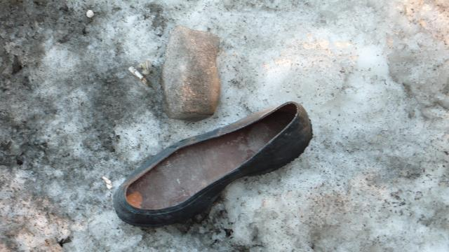 discarded galosh, king and university, toronto