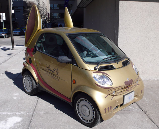 lindt gold bunny smart car
