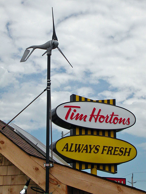 wind turbine and tim hortons, on the road back from Ottawa