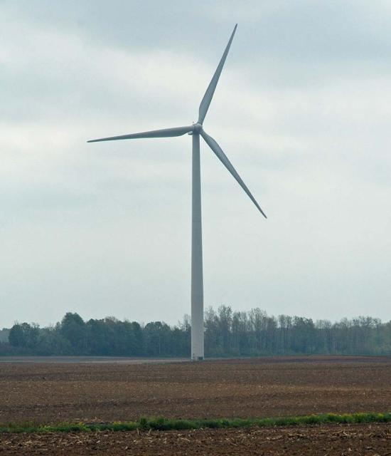 one of 66 wind turbines at Erie Shores