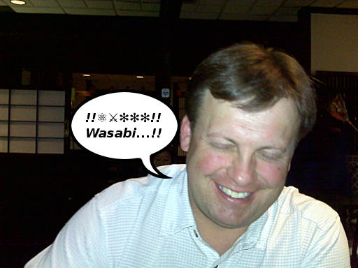 Kenn Cutts enjoys the wasabi at Ema Tei
