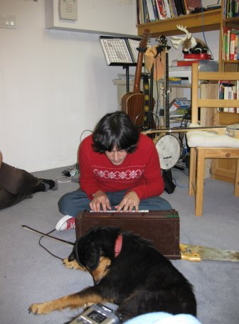 Julian plays Freeing Saw by Reindeer, while Badger Saw and Rudolph the dog look on