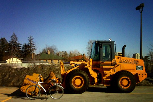 bike, loader, snow