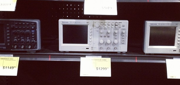 Doesn't know of any big-box store in Canada or the UK that carries oscilloscopes
