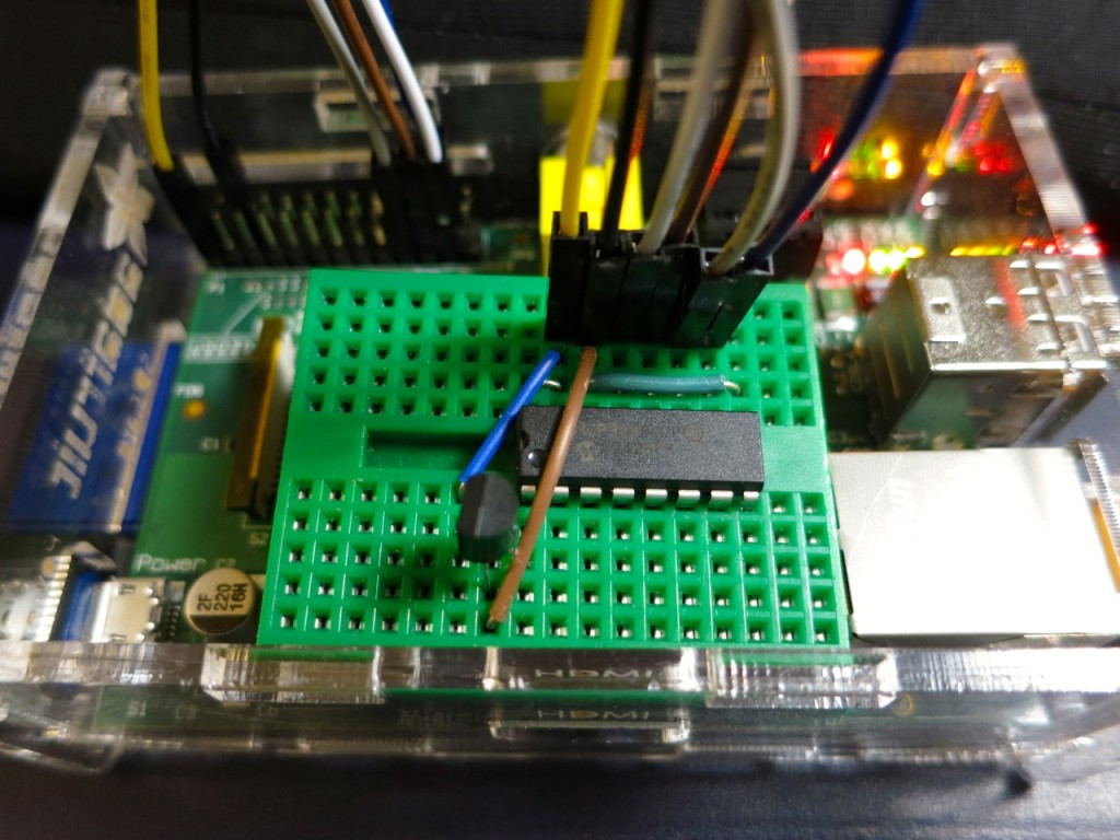 Raspberry Pi wearing an MCP3008