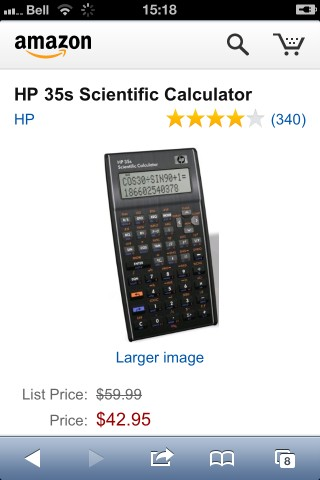 HP 35 from amazon.com: $43