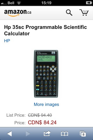 HP 35 from amazon.ca: $84