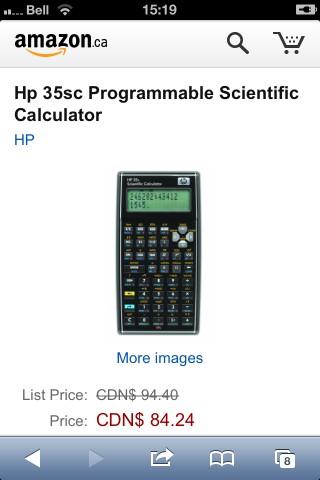 HP 35 from amazon.ca: $84