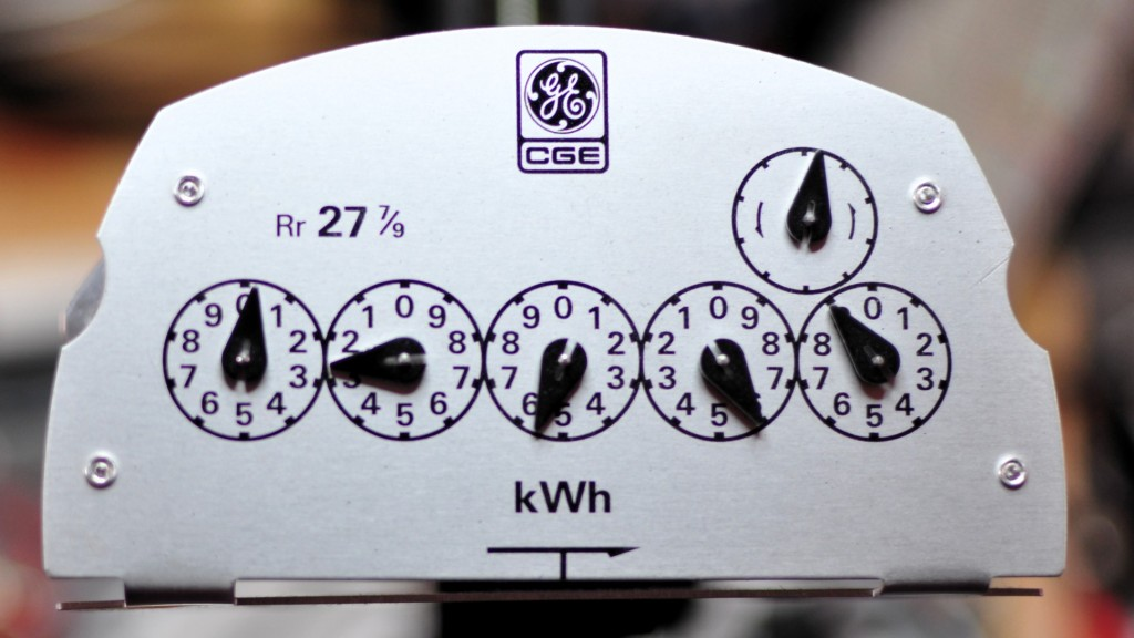 five-dial analogue kWh meter fascia