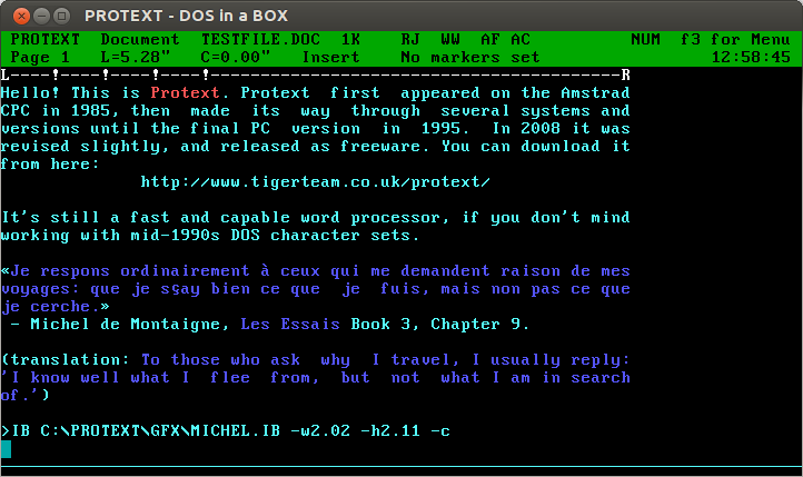 Protext screenshot (dosemu)