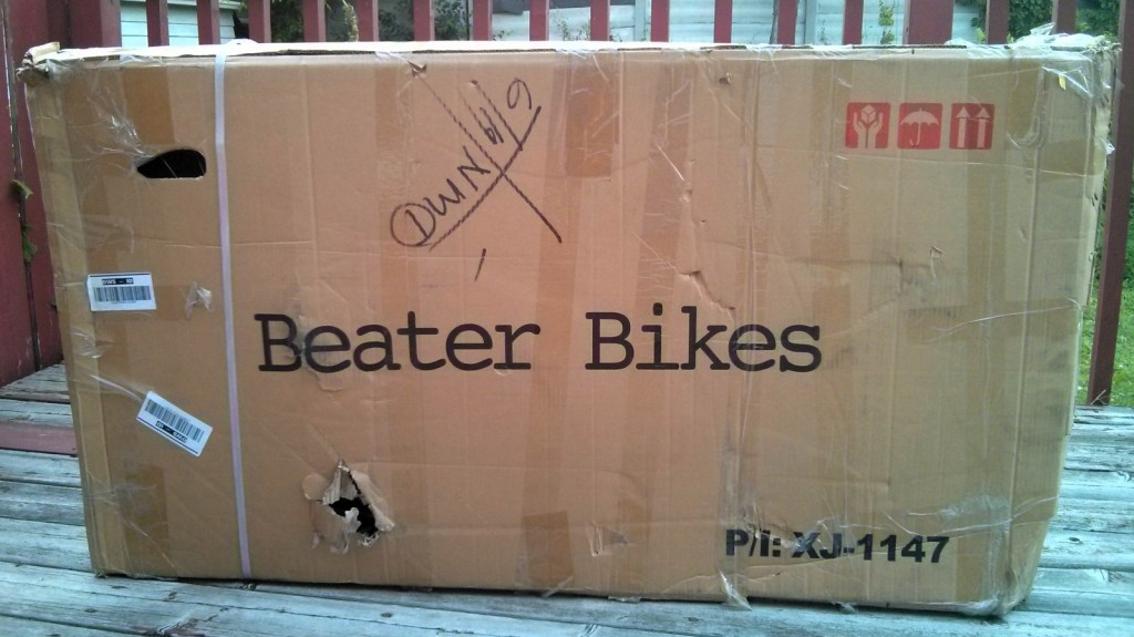 beater bikes, beat-up box
