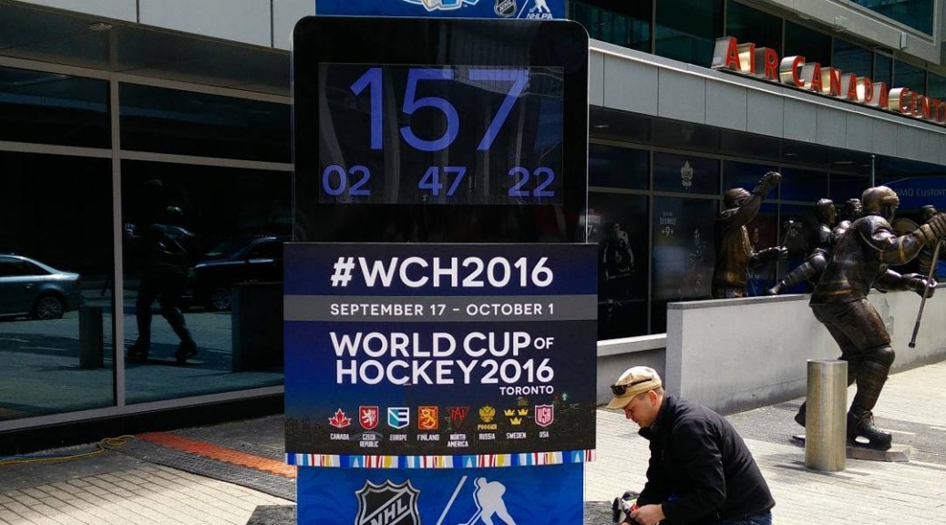 @eightlines caulks around the #wch2016 countdown clock - now with atomic clock synch!
