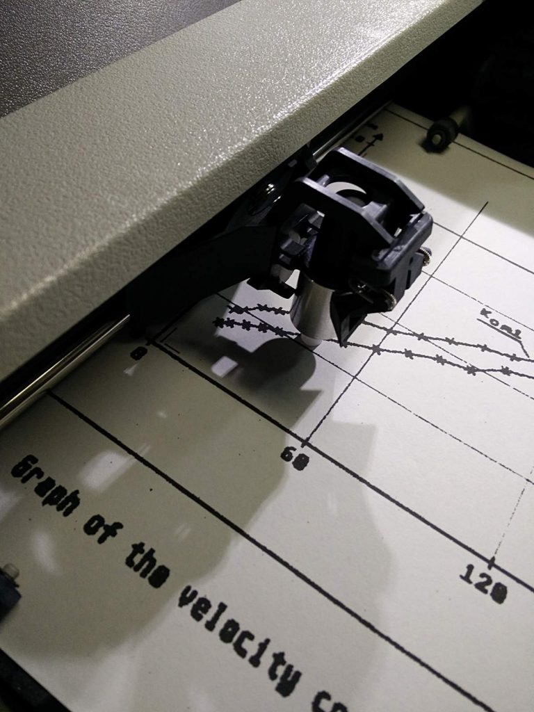 Drafting sight in HP7470A plotter