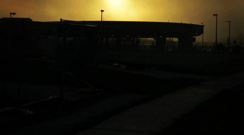 Misty light construction site