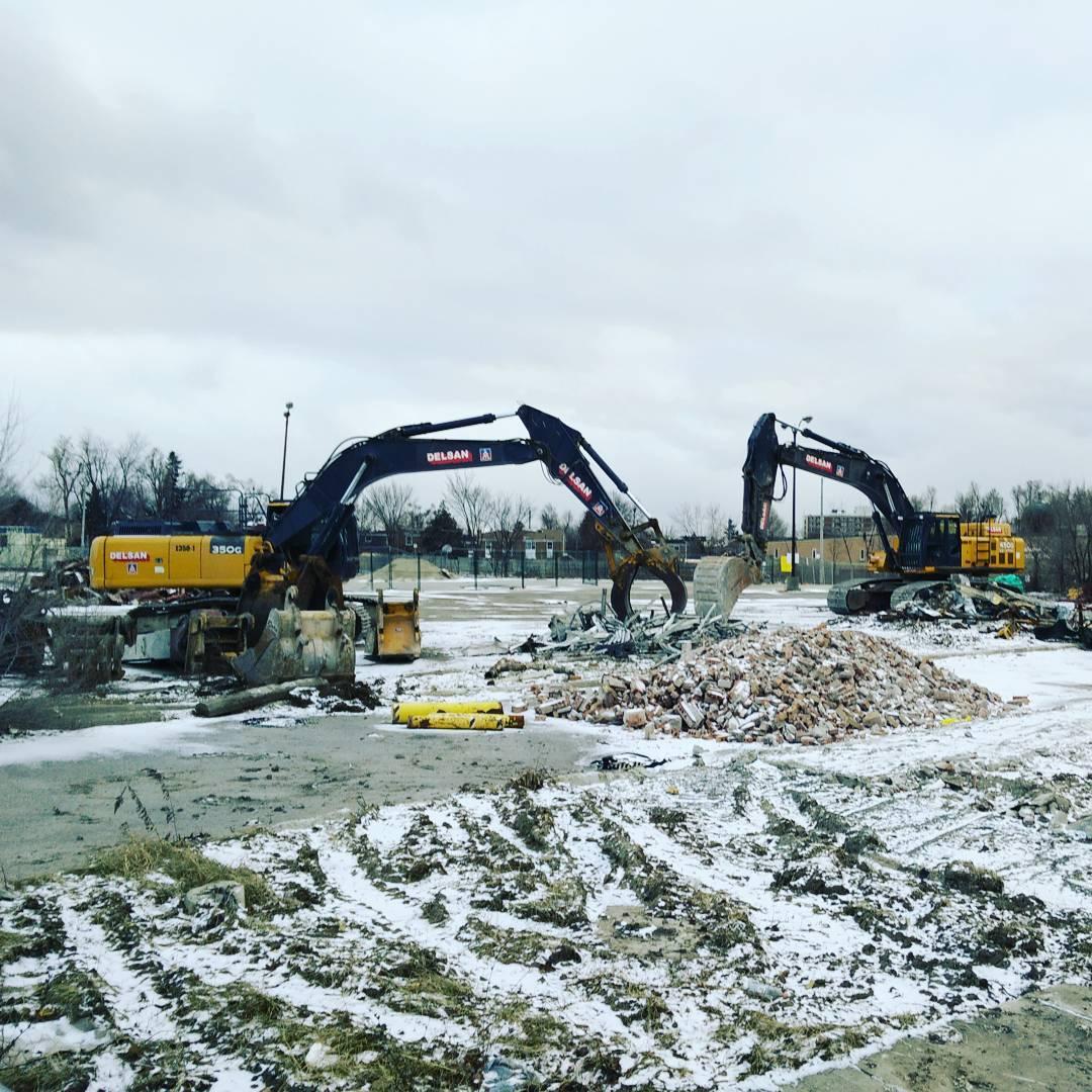 big machines grazing