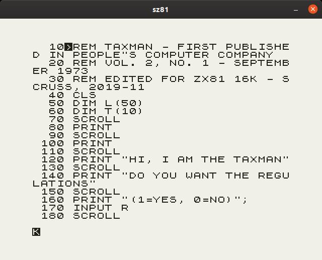 taxman - BASIC program listing on ZX-81 running under sz81 emulator, Linux window borders visible