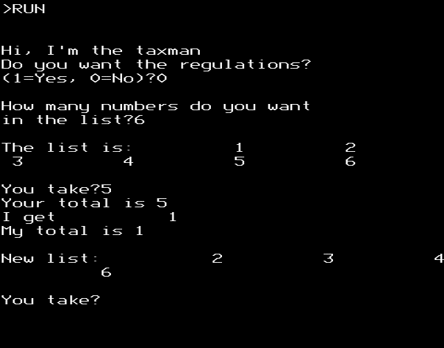 taxman on BBC Micro, showing games tart for 1-6. Adjacent numbers are a full column apart