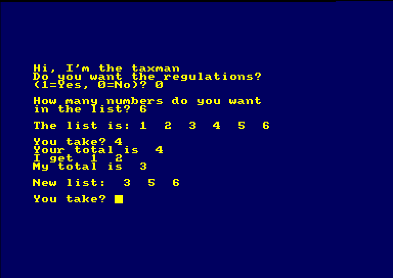 taxman on Amstrad CPC: starting with numbers 1-6, player has taken 4, so taxman takes 1 & 2, leaving 3, 5 and 6