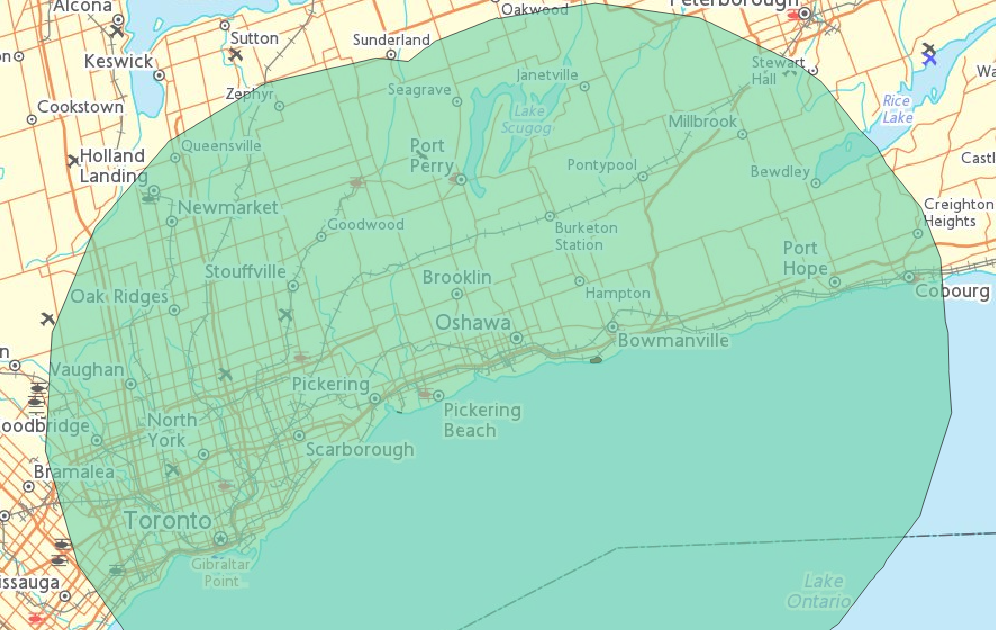 50 km buffer from GTA nuclear stations