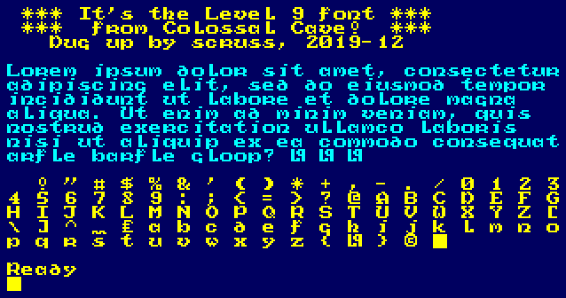 vaguely uncial style bitmap font from old 8-bit Level 9 text adventure