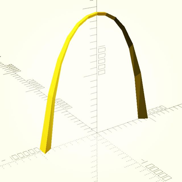 don't mind me, just modelling an actual size lo-poly version of the St Louis arch in OpenSCAD …