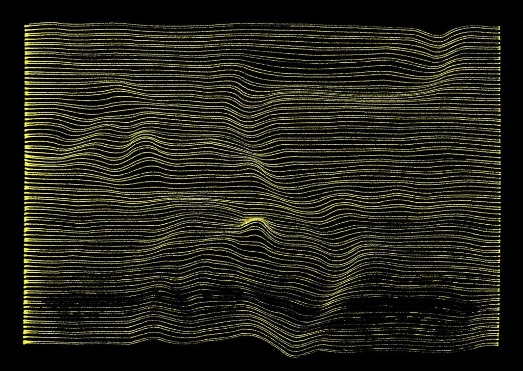 horizontal gold lines on a black background tha tpick out the winding river valleys that make up downtown Winnipeg