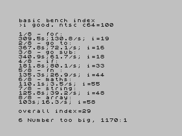 basic bench index >i good. ntsc c64=100  1/8 - for:  309.5 s; 130.8 /s; i= 19  2/8 - goto:  367.8 s; 72.1 /s; i= 16  3/8 - gosub:  340.9 s; 61.7 /s; i= 18  4/8 - if:  181.8 s; 80.1 /s; i= 33  5/8 - fn:  135.3 s; 26.9 /s; i= 44  6/8 - maths:  110.1 s; 3.5 /s; i= 54  7/8 - string:  125.8 s; 39.2 /s; i= 48  8/8 - array:  103 s; 16.3 /s; i= 58   overall index= 29