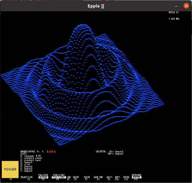 "Screenshot of ""Epple-II"" Apple II emulator running a 3D sync wav plot in purple"