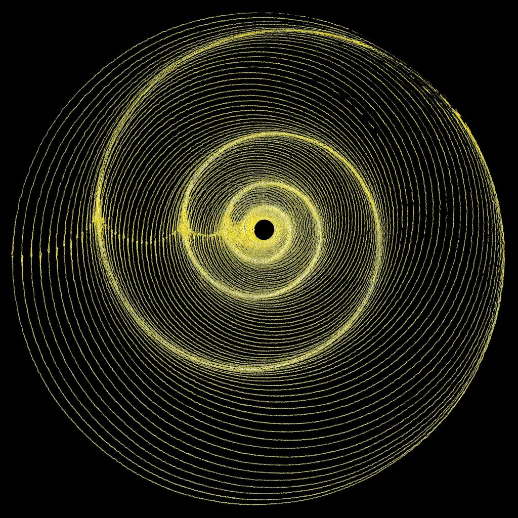 Fine gold circles drawn on a black background. Circles decrease evenly in size and are arranged as it to form a spiral from the points where the circles touch