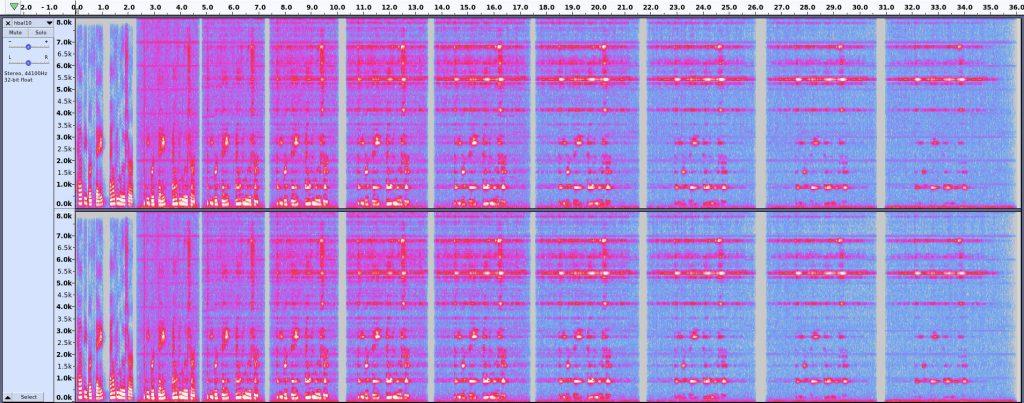 Happy Birthday Alvin Lucier - spectrogram of ten generations of re-recordings