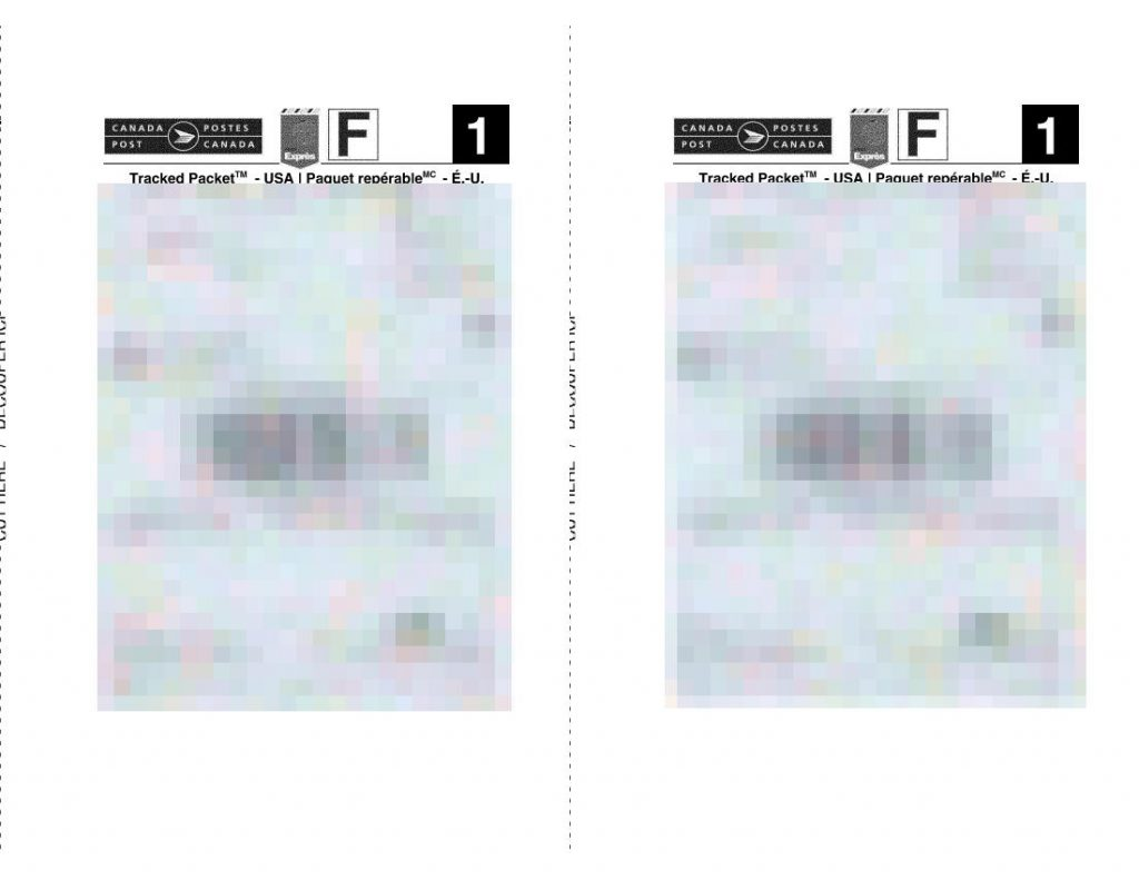 blurred (for privacy) 2-up landscape page of Canada Post Tracked Package (to USA) shipping labels made by this script