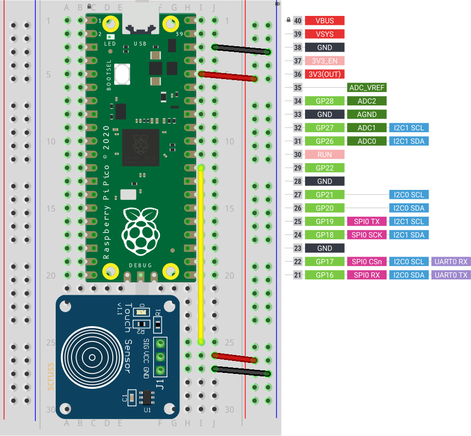 breadboard with Raspberry Pi Pico and small blue capacitive touch sensor