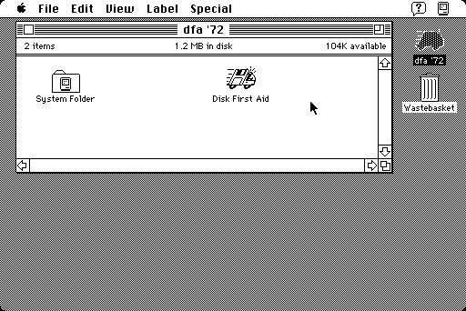 black and white screenshot of Macintosh System 7 desktop showing Disk First Aid icon