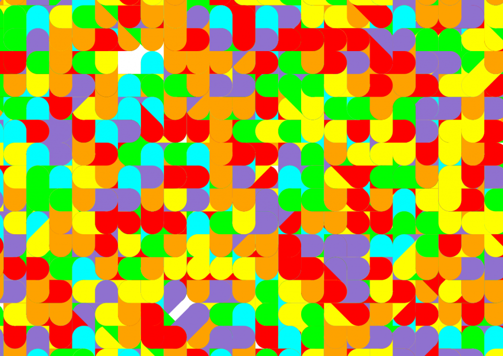 a rectangle made up of many brightly-coloured  line and semicircle sections in a random arrangement
