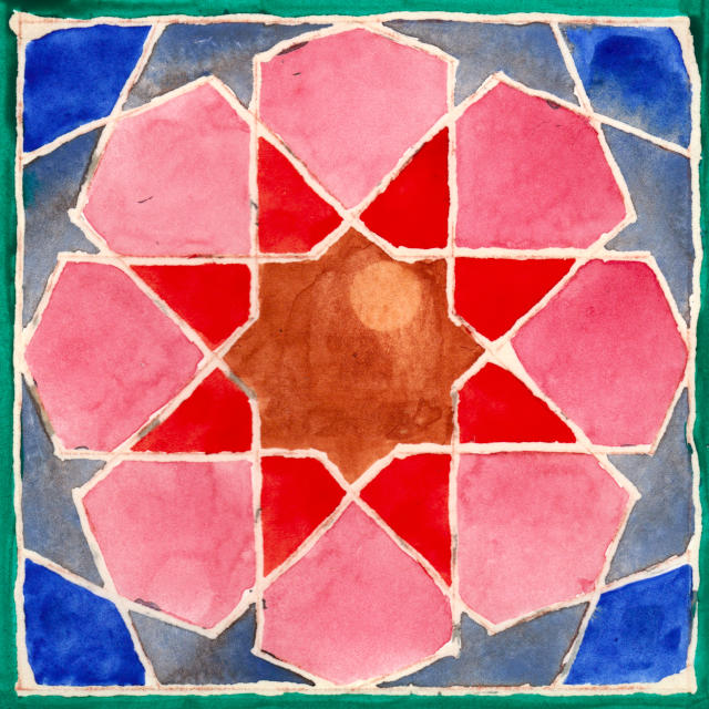 geometric tile picked out in brown, red, pink, green  and various shades of faded blue, separated by rough white frisket lines